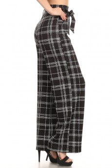 PLAID PRINT KNIT HIGH WAIST WIDE LEG PANT WITH SASH#9WLP04-PD02
