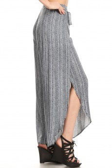 HEATHER GREY/WHITE STRIPE PRINT OVERLAP CROPPED WRAP PANTS#9WRP04-04