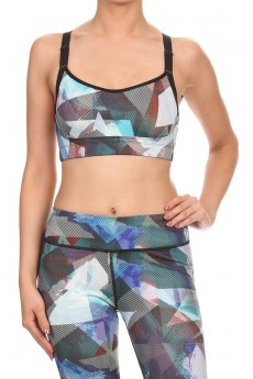 MULTI-COLOR ABSTRACT GEO BRA TOP W/ REFLECTIVE STRAPS #A6BR06-01