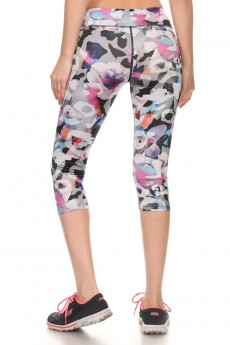 MULTI-COLOR ABSTRACT FLORAL PRINT ACTIVE CAPRIS #A6CP12-02