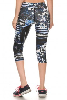 MULTI-COLOR ABSTRACT DIAMOND PRINT ACTIVE CAPRIS #A6CP12-03