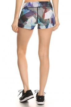 MULTI-COLOR ABSTRACT GEO PRINT ACTIVE RUNNING SHORTS #A7SH01-03