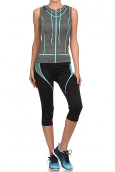 DARK GREY/MINT ACTIVEWEAR SLEEVELESS ZIP-UP HOODIE #AHD15N101