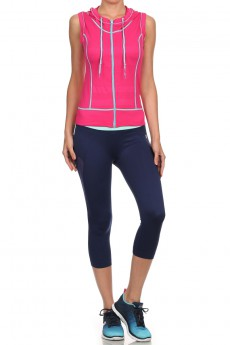 FUCHSIA/MINT ACTIVEWEAR SLEEVE ZIP-UP HOODIE #AHD15N104