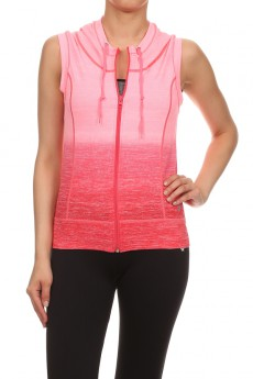 CORAL ACTIVEWEAR SLEEVELESS ZIP-UP HOODIE #AHD15NP201