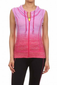 MAGENTA  ACTIVEWEAR SLEEVELESS ZIP-UP HOODIE #AHD15NP202