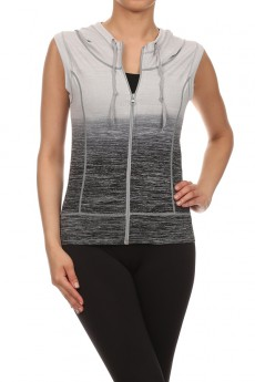 CHARCOAL ACTIVEWEAR SLEEVELESS ZIP-UP HOODIE #AHD15NP203