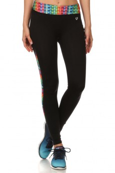 BLACK/MULTI DIAMOND PRINT ACTIVE LEGGING W/ SIDE PHONE POCKET #ASL15N202