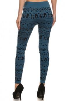 Elephant print flocking seamless fleece-lined leggings #FLK15FL05