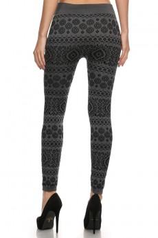 Bohemian tribal print flocking seamless fleece-lined leggings # FLK15FL07