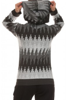 BLACK/WHITE OMBRE LOOK JACQUARD LSLV HOODIE W/ KANGAROO POCKET #HD15FL23