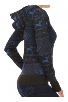BLACK/ROYAL SNOWFLAKE JACQUARD LSLV HOODIE W/ KANGAROO POCKET #HD15FL26