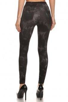 BLACK TIE-DYE PRINT JEGGINGS # JL15P41