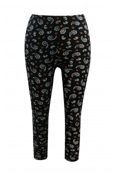 KIDS BLACK/WHITE/CORAL PAISELY PRINT BRUSHED POLY LEGGING(7/8, 10/12)#XK6L09-19