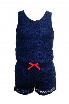 KIDS LACE ROMPER WITH BOW TIE (4/5, 6/6X) #K6RMP09-02
