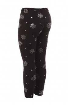 KIDS BLACK/SILVER FLORAL METALLIC PRINT BRUSH POLY FLEECE LINED LEGGING(7/8, 10/12)#XK7L50-02