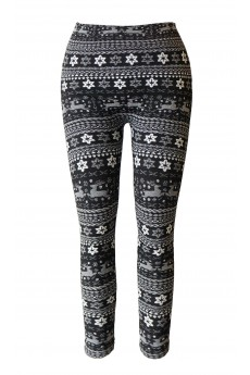 KIDS BLACK/WHITE REINDEER JACQUARD SEAMLESS FLEECE LEGGING (size:4/6x) #KSJ15FL01