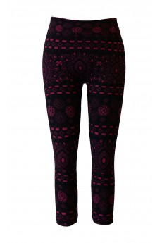 KIDS BLACK/RED BOHEMIAN JACQUARD SEAMLESS FLEECE LEGGINGS(size:4/6x)#KSJ15FL08