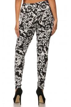 MISSY BLACK/WHITE SWIRL FLORAL BRUSH POLY FLEECE LINE LEGGINGS#ML15FL31