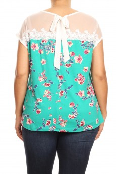 MISSY PLUS Lace Mesh Bow Back Illusion Floral Top#MTS012X-3