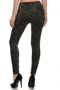 LEOPARD PRINT SUBLIMATION  FRENCH TERRY SEAMLESS LEGGINGS #SBM15FT04