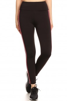 HIGH WAIST FLEECE LINED LEGGING W/ SIDE STRIPE TAPING #SG80704-05