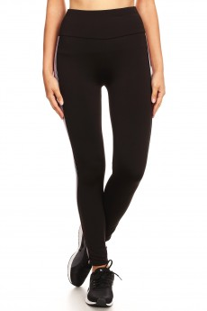 HIGH WAIST FLEECE LINED LEGGING W/ SIDE STRIPE TAPING #SG80704-13