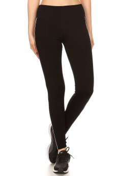 FLEECE LINED LEGGING WITH SIDE WHITE PIPING #S680902