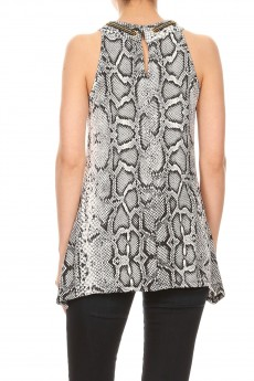 Non Brushed Snake Skin Chain Grommet Sharkbite Sleeveless Top#SL004-SK04