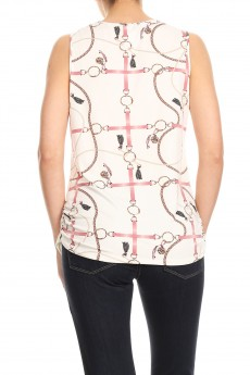 NON BRUSHED STATUS PRINT GROMMET V-NK SLEEVELESS TOP#SL005-CP02