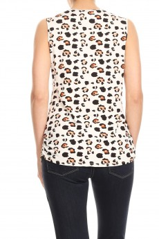 NON BRUSHED ANIMAL PRINT GROMMET V-NK SLEEVESS TOP#SL005-SK11