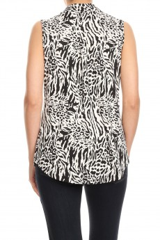 NON BRUSHED ZEBRA  PRINT SLVLESS PLACKET TOP#SL008-SK09