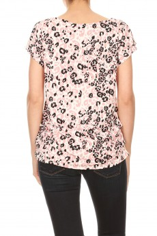 NON BRUSHED ANIMAL PRINT GROMMET SHO SIDE TUCK TOP#TS013-SK08