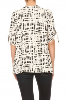 NON BRUSHED ABSTRACT CHECK GROMMET SHO SIDE TUCK TOP#TS016-AB02