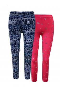 KIDS 2PACK BRUSH POLY FLEECE LINED NAVY/WHITE PAISLEY & HOT PINK/SILVER FOIL HEART PRINT LEGGING(7/8, 10/12)#X2K8L111-07