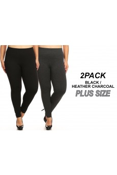 PLUS 2PACK HEATHER CHARCOAL/BLACK  RIB FT SEAMLESS LEGGING#X2P9L19