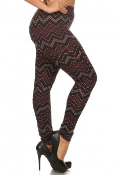 PLUS BURGUNDY/BLACK TRIBAL CHEVRON PRINT BRUSH POLY FLEECE LINE LEGGINGS#X6L23-20