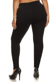 PLUS SIZE SOLID FUR-LINED LEGGING #X6L25