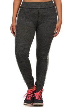 PLUS SIZE SHOSPORT H.CHARCOAL JOGGER LEGGINGS #X6TRK08-01