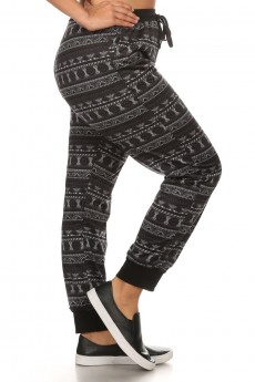 PLUS PRINTED FLEECE JOGGER WITH SLANT POCKET AND SOLID WAISTBAND #X6TRK10-05