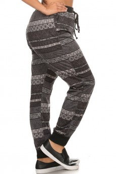 PLUS PRINTED FLEECE JOGGER W/ SLANT POCKET AND SOLID WAISTBAND #X6TRK10-07