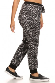 BLACK/GREY/WHITE ABSTRACT GEO PRINT FLEECE LINED JOGGER #X6TRK10-09