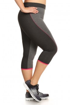 PLUS SIZE TWO TONE CAPRIS WITH CONTRAST STITCH #X7CP10