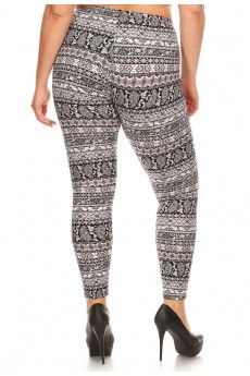PLUS SIZE BLACK/WHITE/MAUVE HORIZONTAL PAISLEY PRINT BRUSH LEGGING #X7L01-24