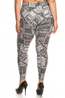 PLUS BLACK/WHITE AZTEC PATCHWORK PRINT BRUSH POLY LEGGING #X7L01-33