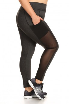 PLUS SIZE LEGGING WITH MESH SIDE POCKET PANELS #X7L05