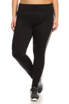 PLUS SIZE BLACK/HEATHER GREY/HEATHER CHARCOAL COLOR BLOCK LEGGING WITH WORDING (NO LIMITS) #X7L06-01