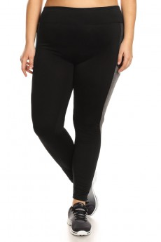 PLUS SIZE BLACK/HEATHER GREY/HEATHER CHARCOAL COLOR BLOCK LEGGING WITH WORDING (INSPIRE)#X7L06-02