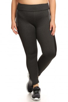 PLUS SIZE HEATHER CHARCOAL/BLACK/HEATHER GREY COLOR BLOCK LEGGING WITH WORDING (BELIEVE)#X7L06-03