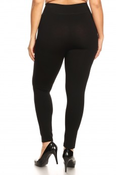 PLUS SIZE BLACK BASIC HIGH WAIST SEAMLESS LEGGING#X7L103